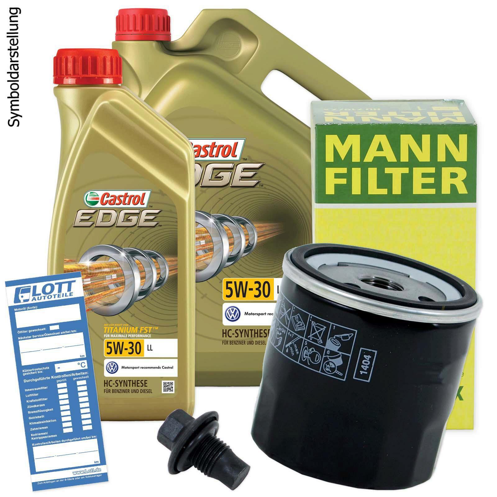 Ölwechsel Set 6L 5W30 Öl Motoröl CASTROL + MANN Ölfilter + Ablassschraube