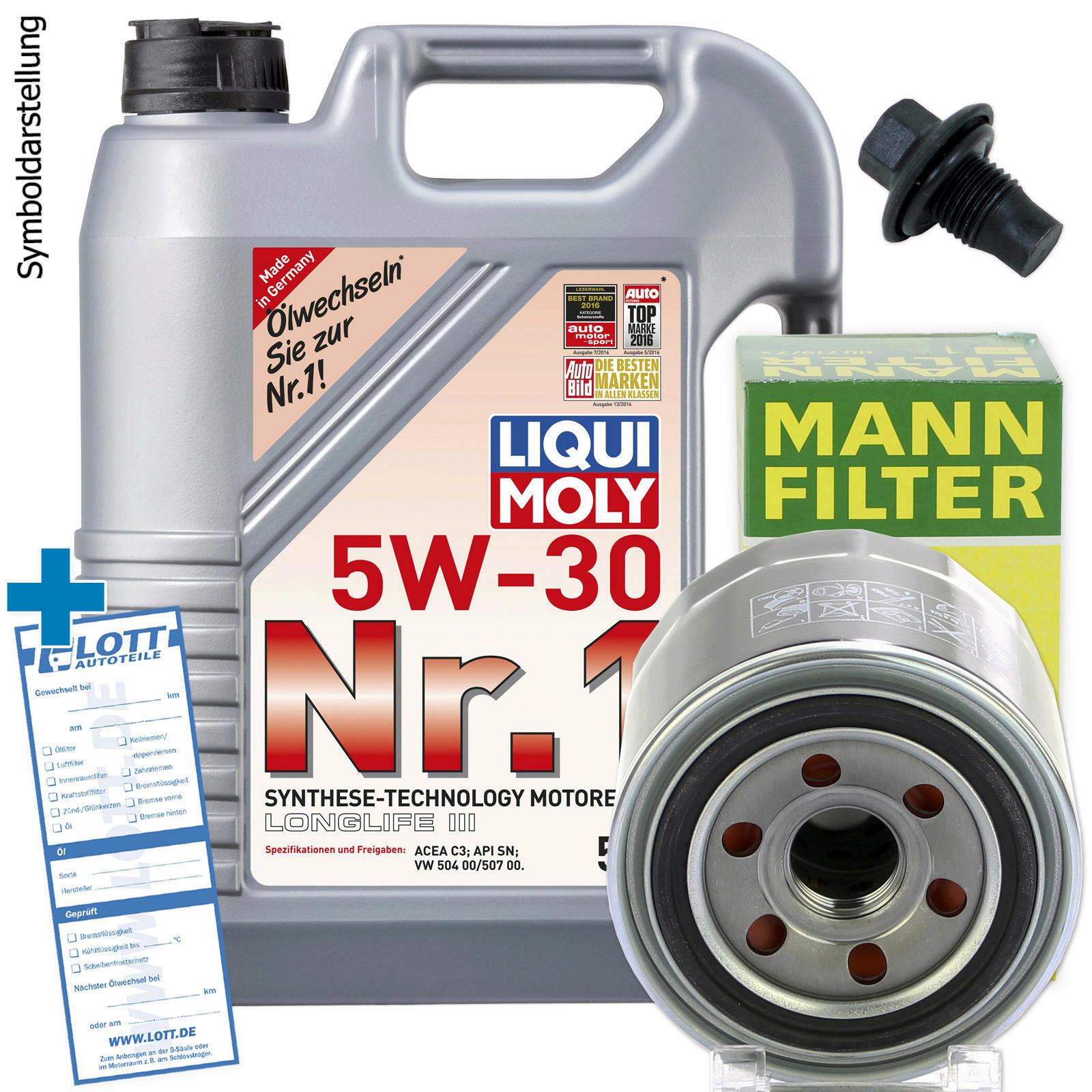 Ölwechsel set 5l 5w30 Öl motoröl liqui moly + mann Ölfilter +