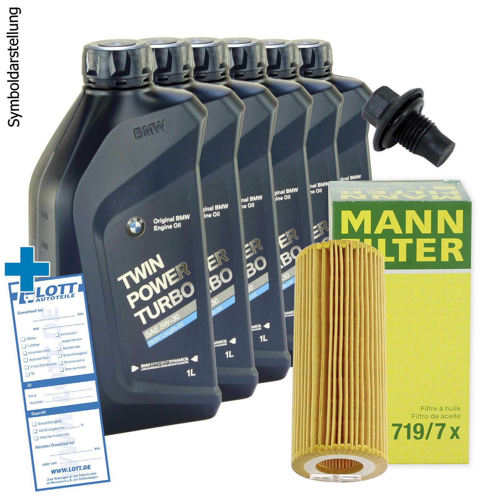 Ölwechsel Set Mann Ölfilter + Original BMW Motoröl + Ablassschraube