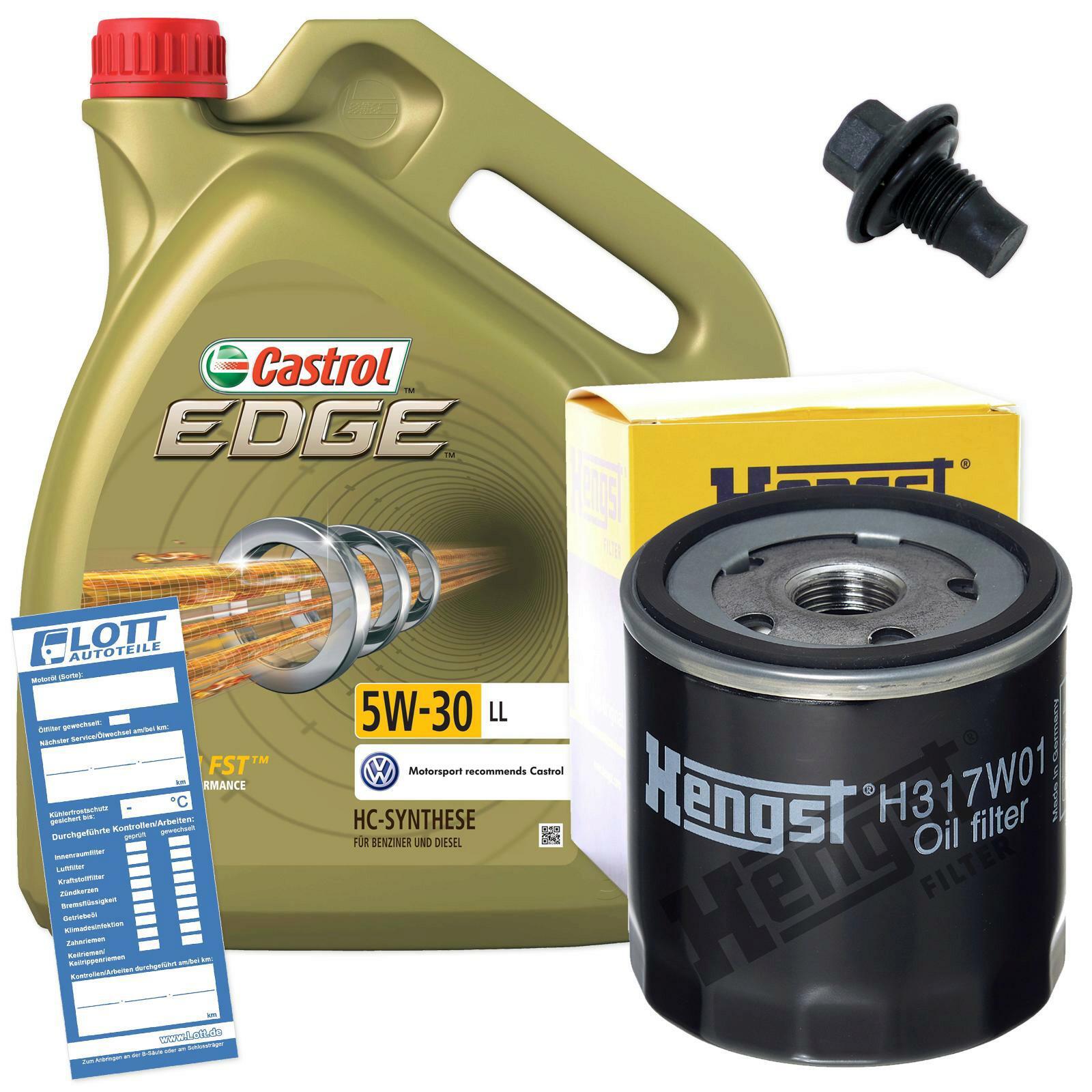 Ölwechsel Set Castrol Motoröl + Hengst Ölfilter + Ablassschraube