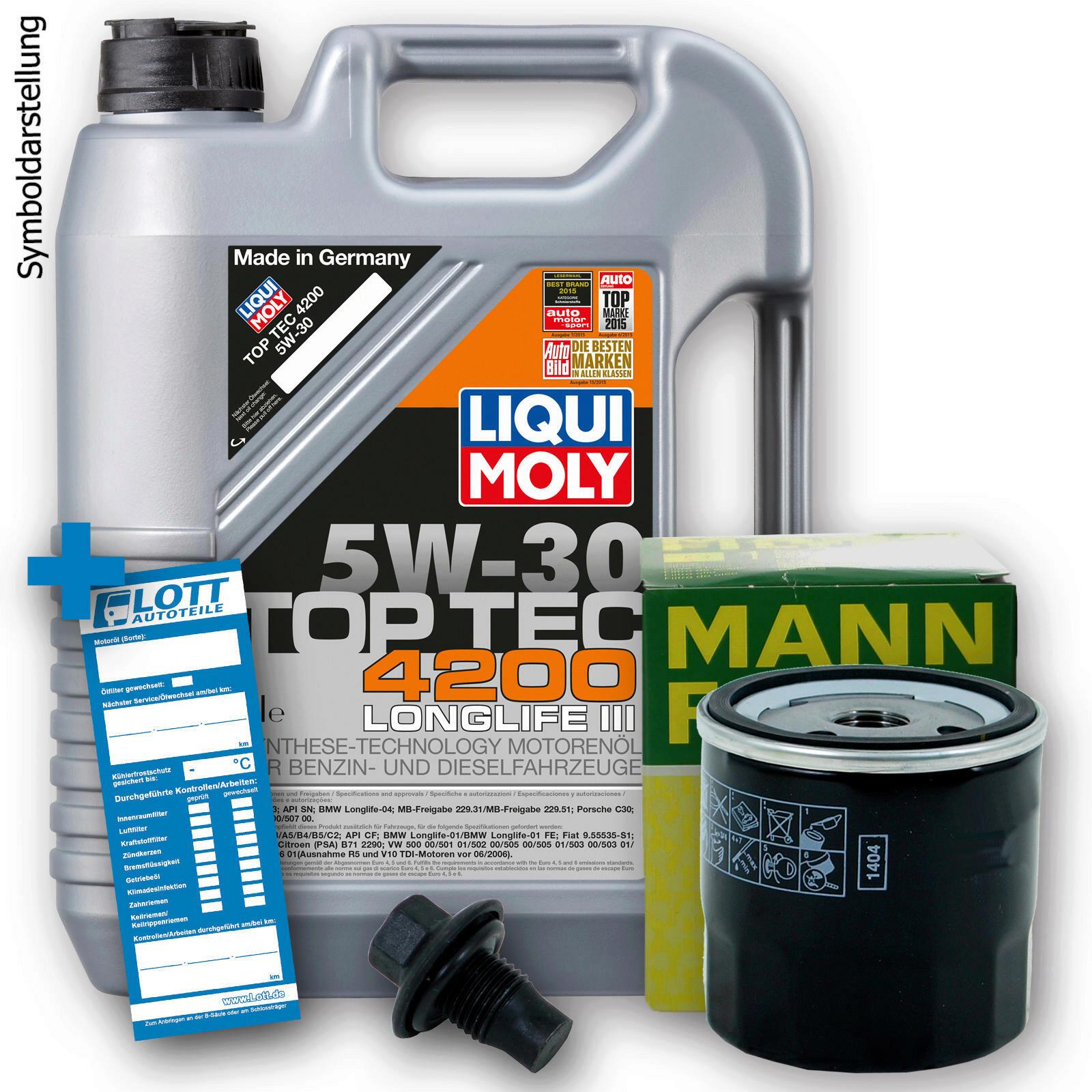 Ölwechsel Set 5L 5W30 Öl Motoröl LIQUI MOLY + MANN Ölfilter