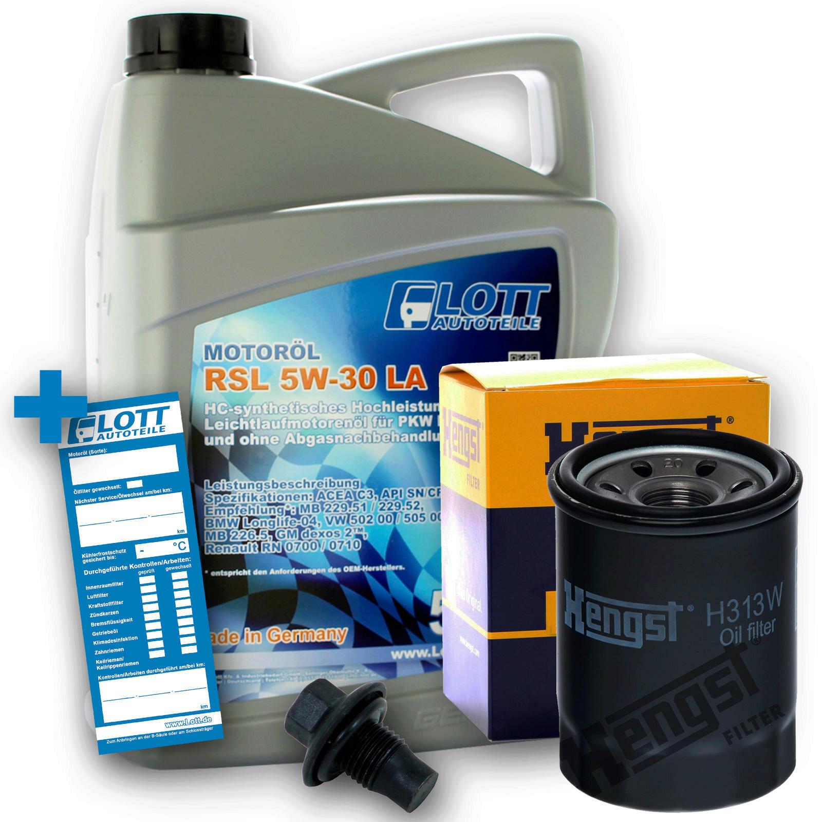 Ölwechsel Set Hengst Ölfilter + Lott Motoröl