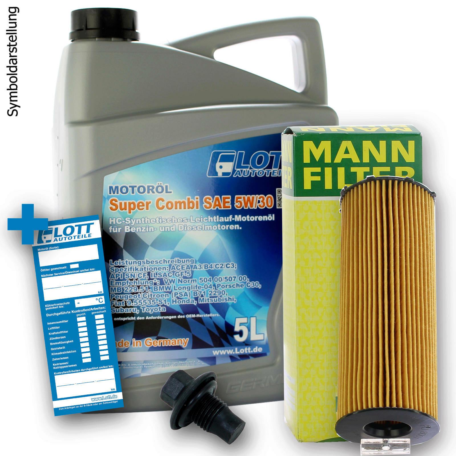 Ölwechsel Set Mann Ölfilter + Lott Motoröl