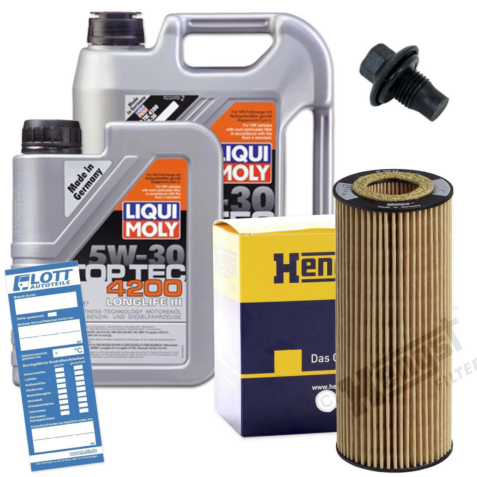 Ölwechsel Set 6L 5W30 Öl Motoröl LIQUI MOLY + HENGST Ölfilter + Ablassschraube