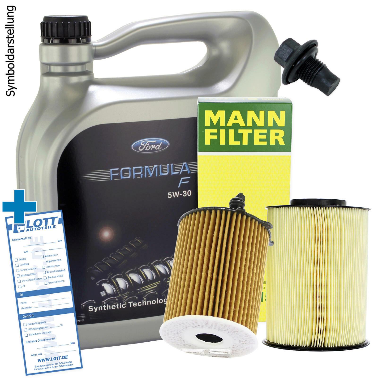 Ford Motoröl + Ölfilter + Luftfilter + Ablassschraube
