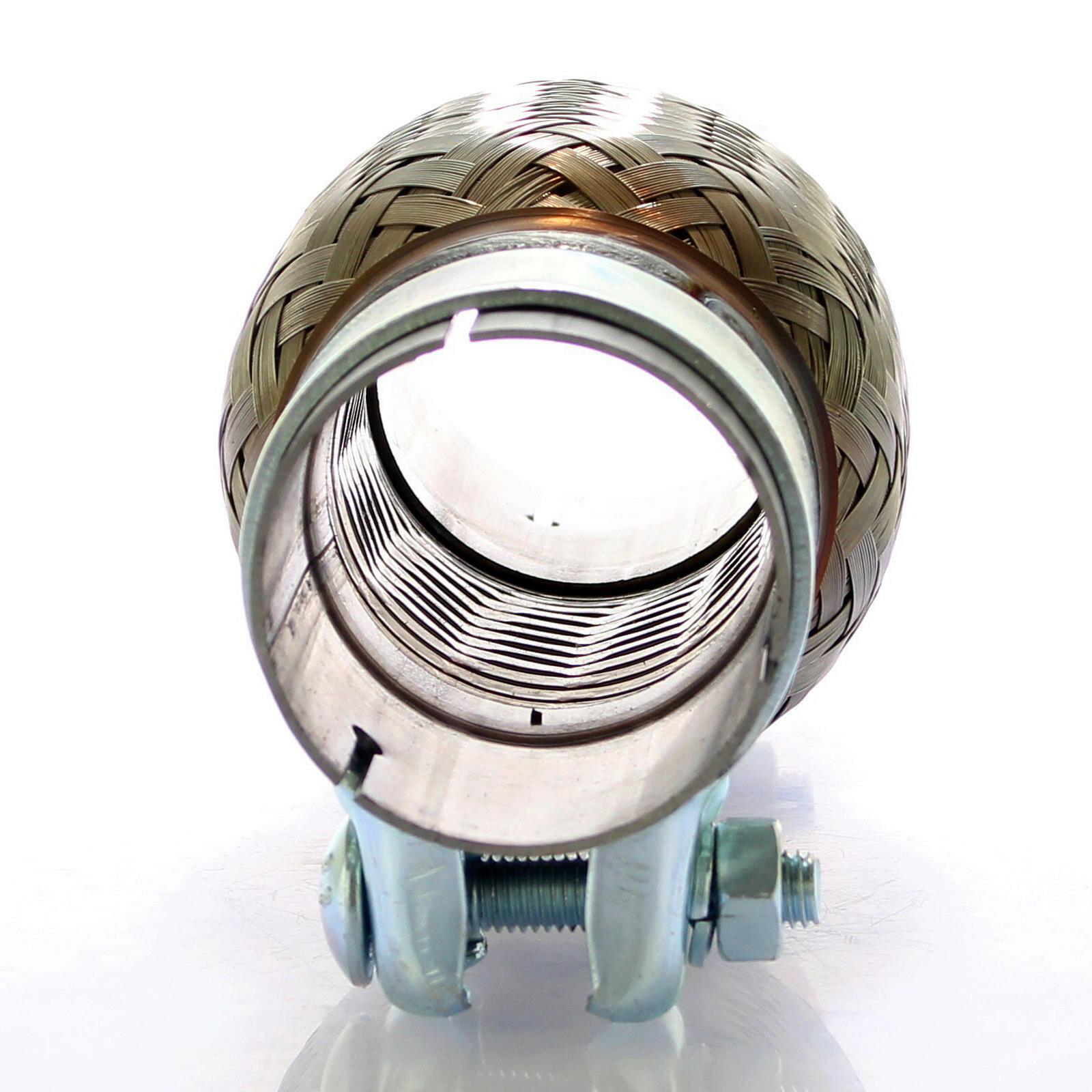 2 Schellen Flexstück Set ohne Schweißen Flexrohr Auspuff Rohr 60 x 100 mm