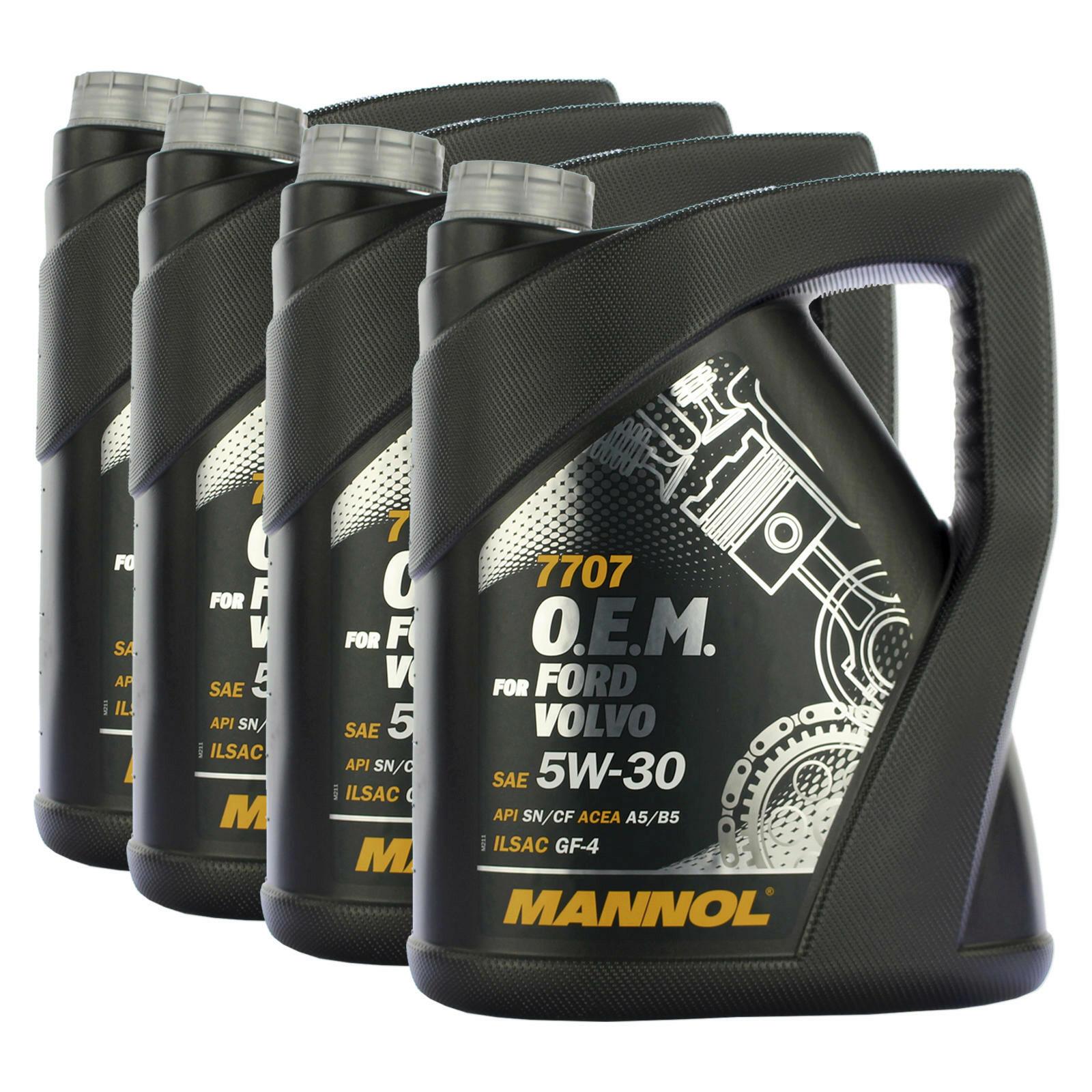 4x 5 Liter MANNOL Motoröl 5W-30 7707 O.E.M. FORD OPEL VOLVO API SN/CF
