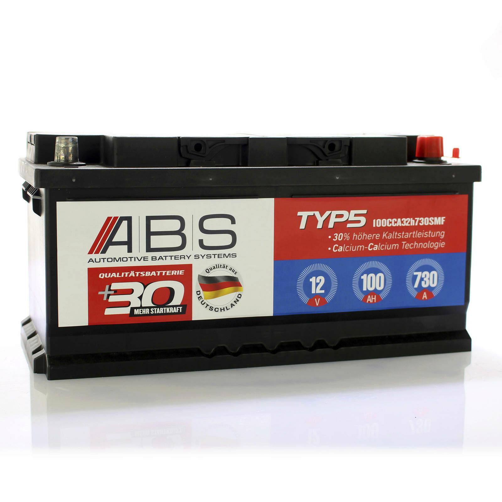 abs starterbatterie 12 volt 100 ah 730 a wartungsfrei. Black Bedroom Furniture Sets. Home Design Ideas