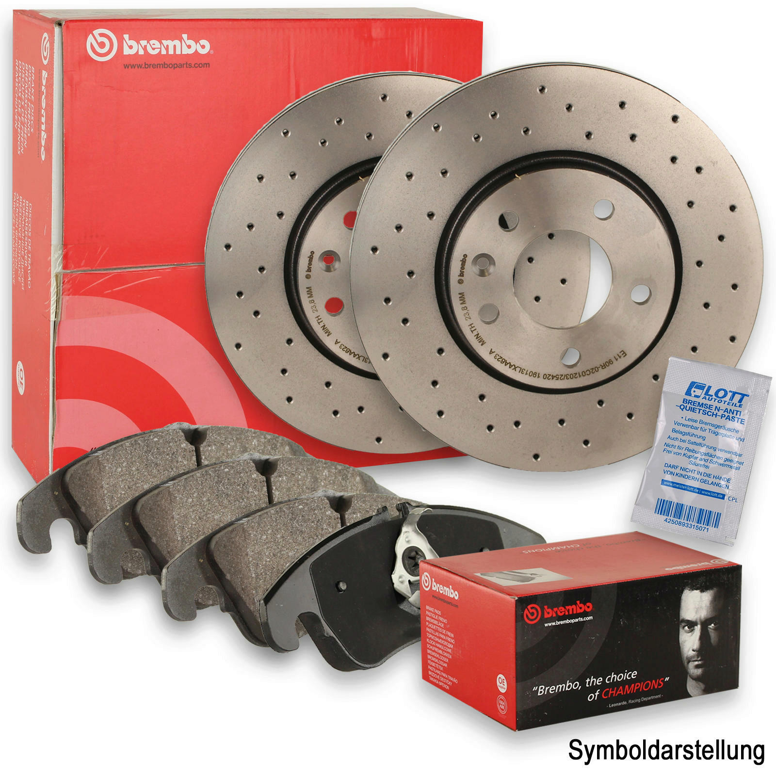 Brembo XTRA LINE Bremsscheiben gelocht + Brembo Bremsbeläge