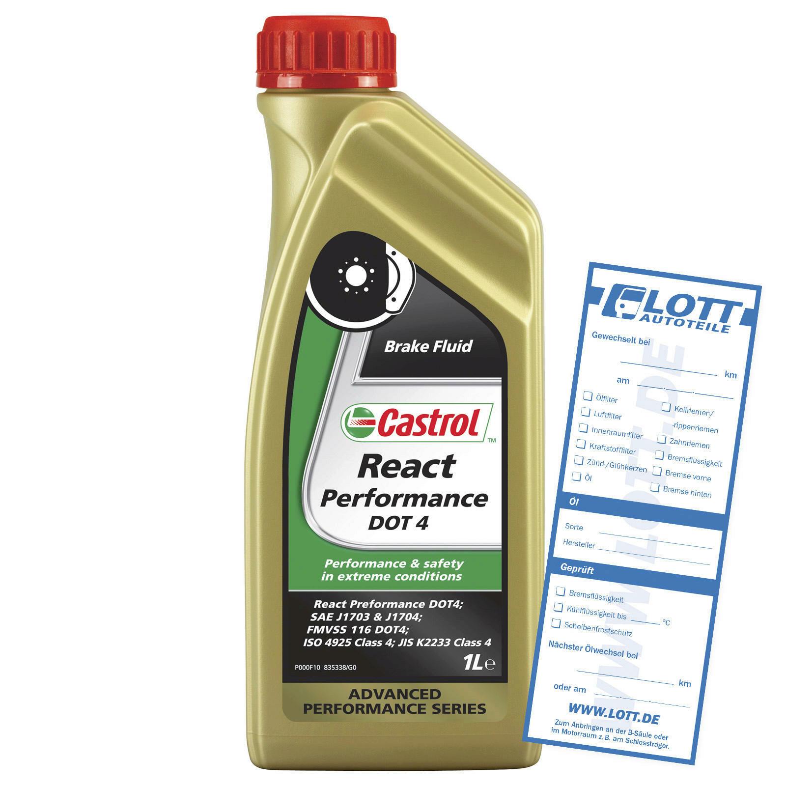 CASTROL Bremsflüssigkeit React Performance DOT 4 1L