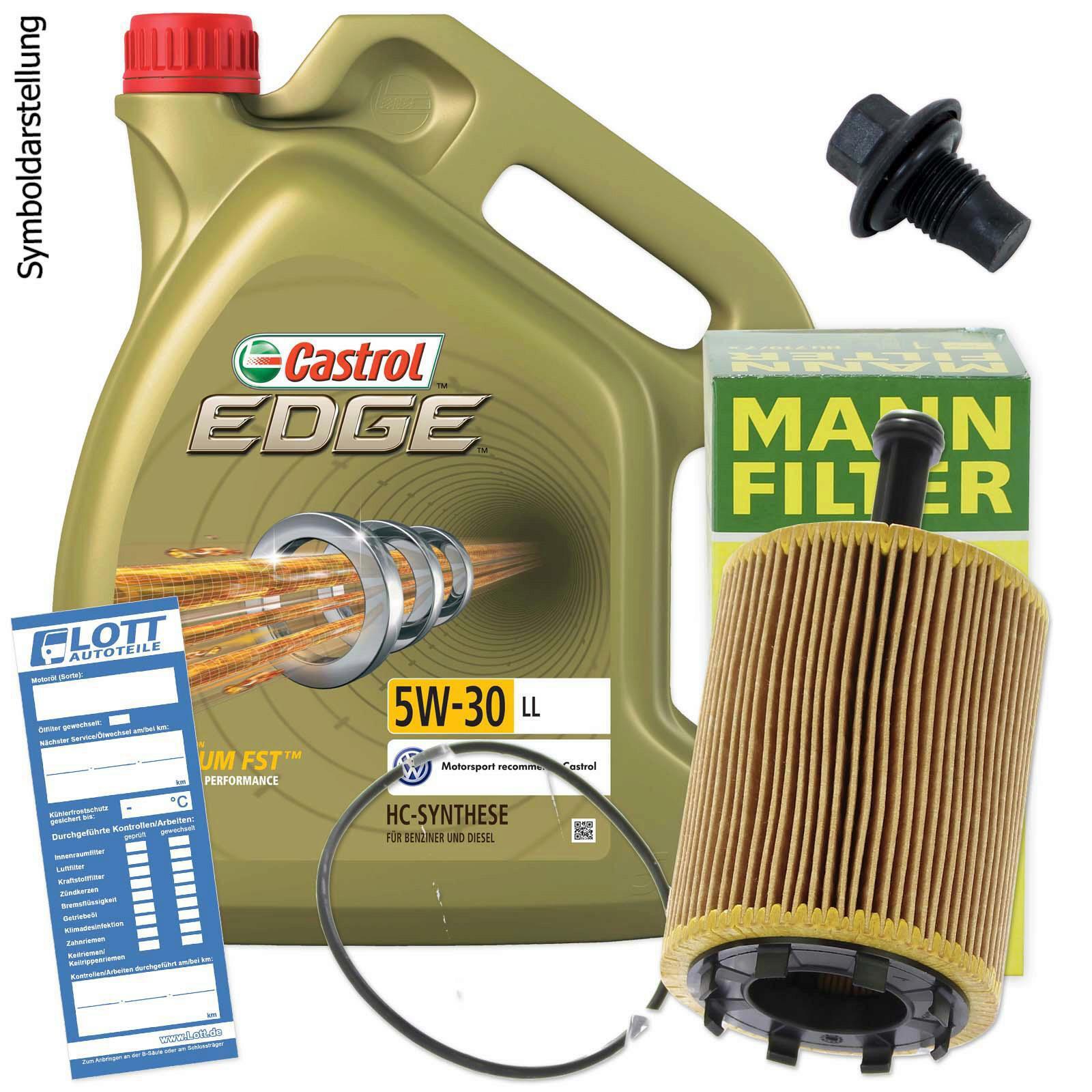 Ölwechsel Set 5L 5W30 Öl Motoröl Castrol + MANN Ölfilter + Ablassschraube
