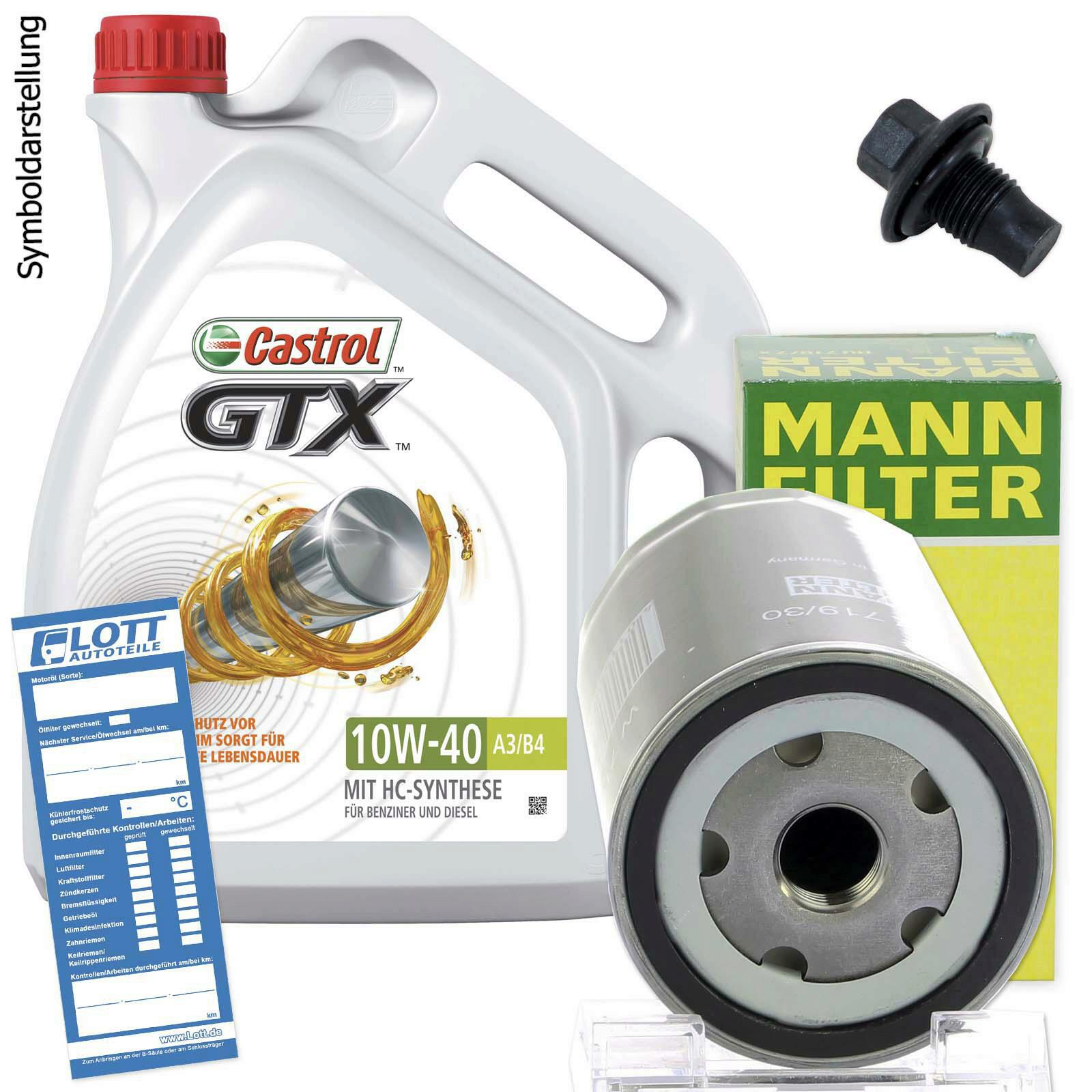 Ölwechsel Set 5L 10W40 Öl Motoröl Castrol + MANN Ölfilter