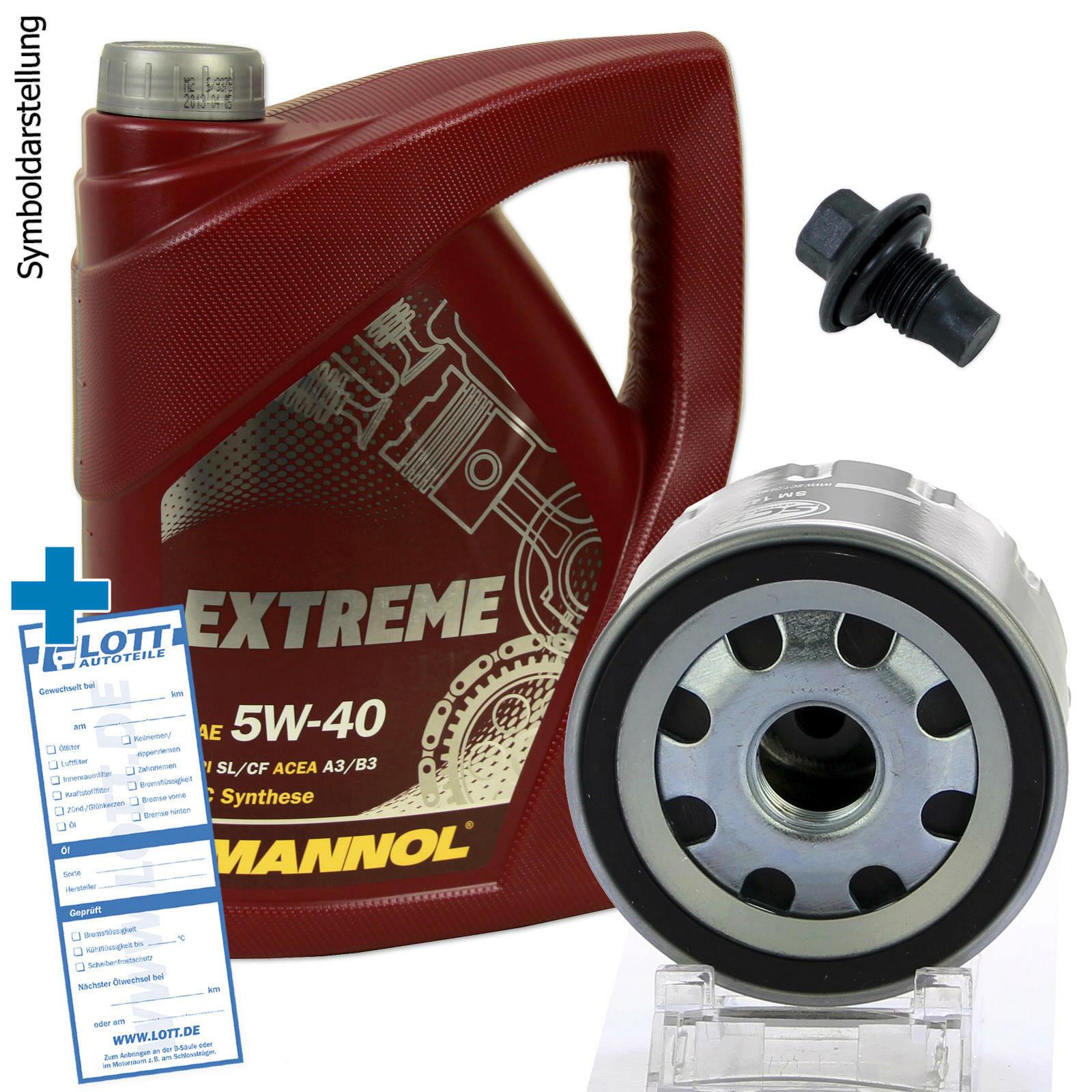 Ölwechsel Set 5L 5W40 Öl Motoröl + Ölfilter + Ablassschraube