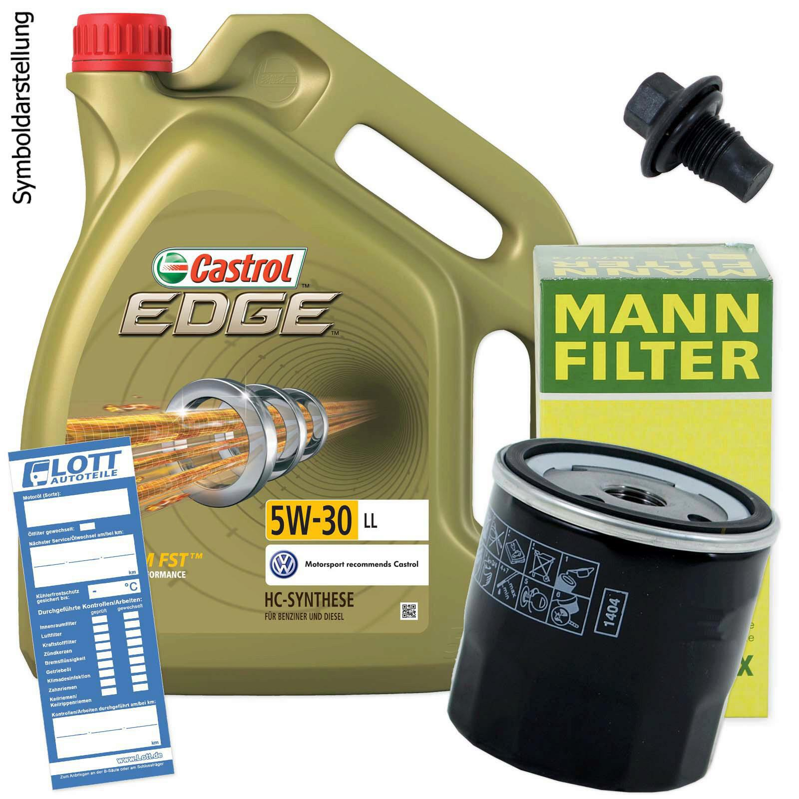 lwechsel set 5l 5w30 l motor l castrol mann lfilter ablassschraube a9100053mannc lott. Black Bedroom Furniture Sets. Home Design Ideas