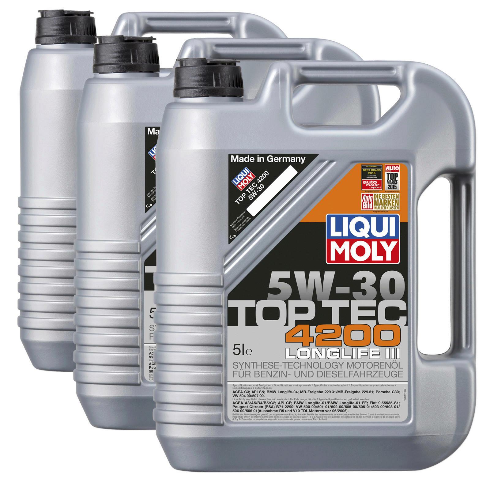 3x 5 Liter Original LIQUI MOLY Motoröl Top Tec 4200 5W30