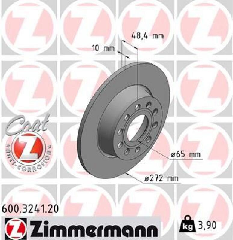 2x ZIMMERMANN Brake Disc COAT Z