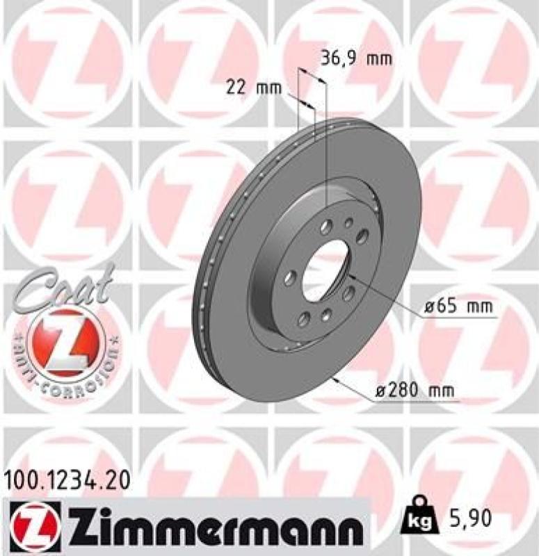 2x ZIMMERMANN Brake Disc COAT Z