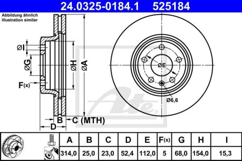 2x ATE Bremsscheibe Power Disc
