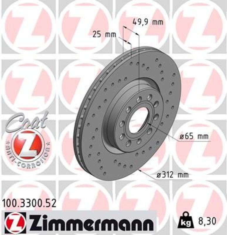 2x ZIMMERMANN Brake Disc SPORT BRAKE DISC COAT Z