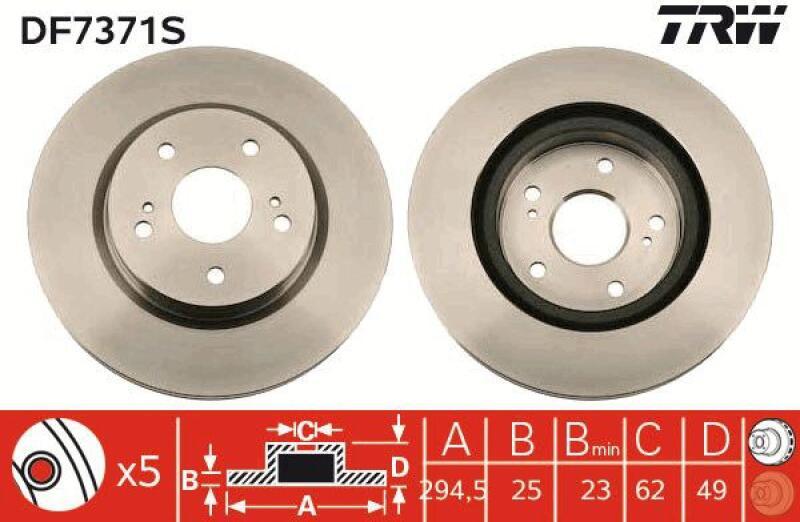 DF6505S 2x Bremsscheibe Bremse NEU TRW