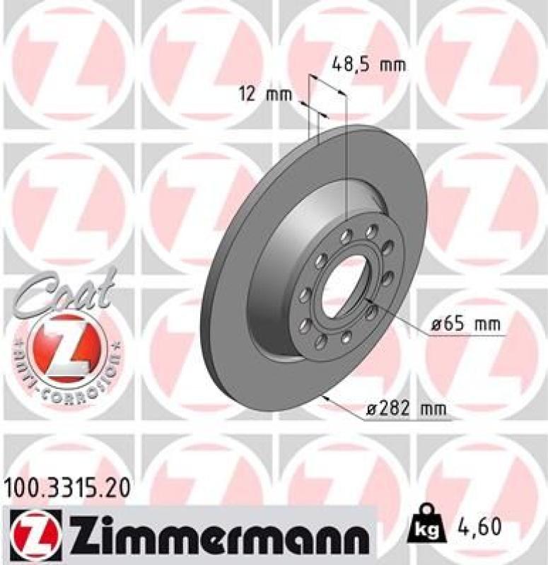 2x ZIMMERMANN Bremsscheibe COAT Z