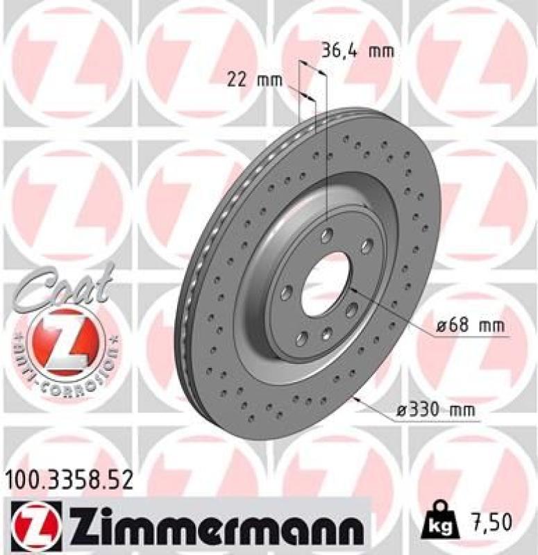 2x ZIMMERMANN Bremsscheibe SPORT COAT Z