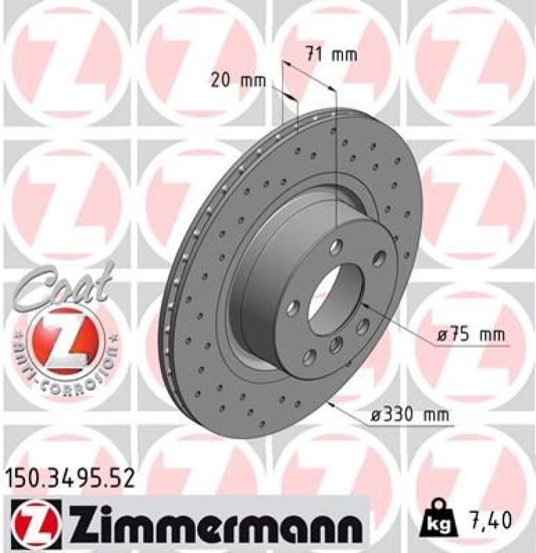 4 Zimmermann Sport Bremsscheiben + Zimmermann Bremsbeläge
