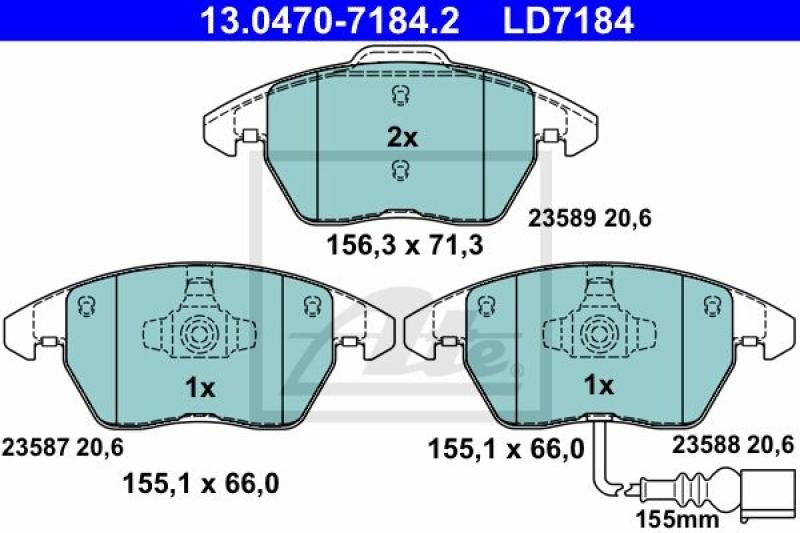 ATE 4x Bremsbeläge Bremsbelagsatz ATE Ceramic