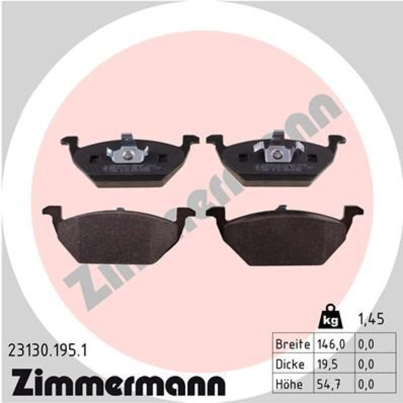 ZIMMERMANN Brake Pad Set, disc brake