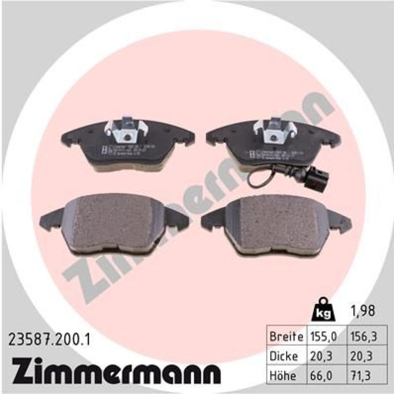ZIMMERMANN Bremsbelagsatz, Scheibenbremse